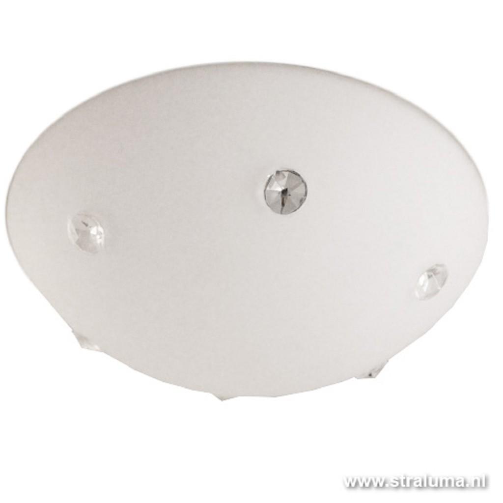 Plafondlamp rond wit met kristallen