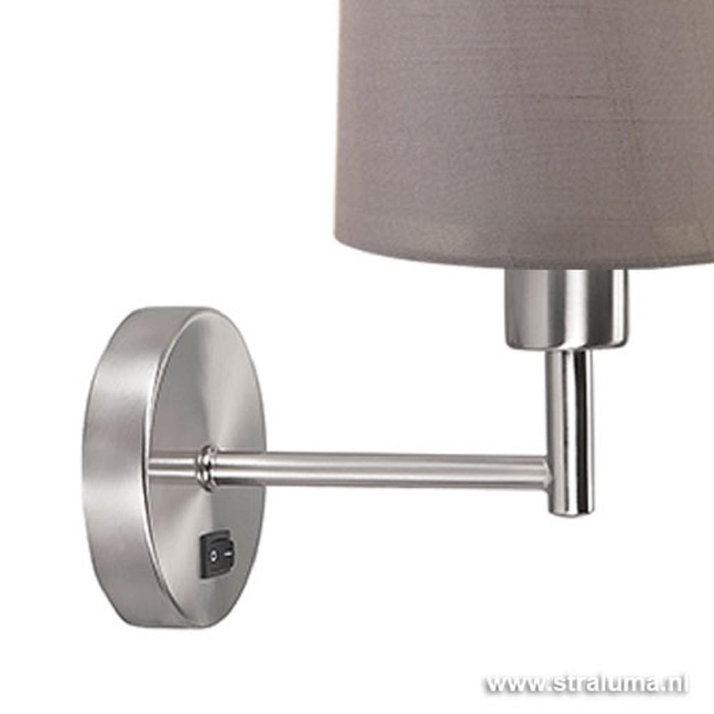 *Wandlamp met lampenkap olijf staal