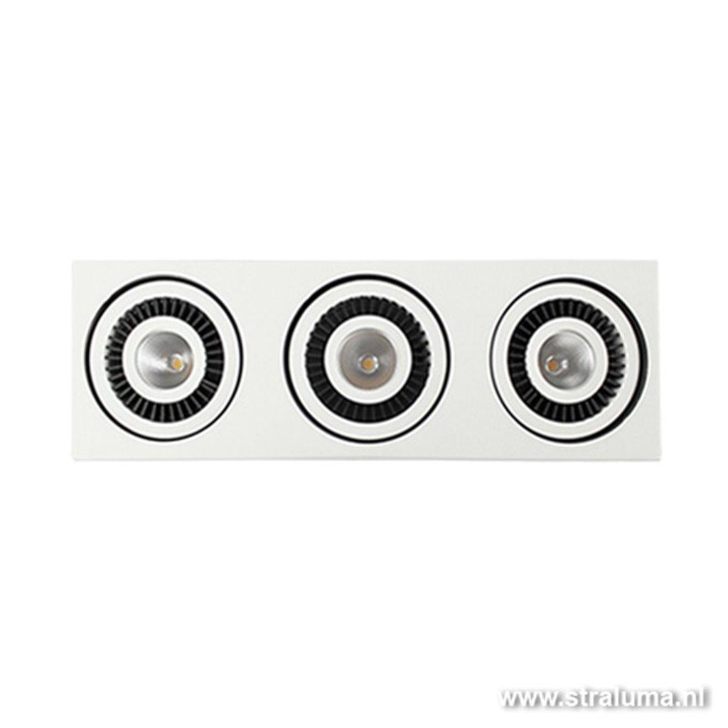 Plafondspot bak 3-lichts led wit/zwart