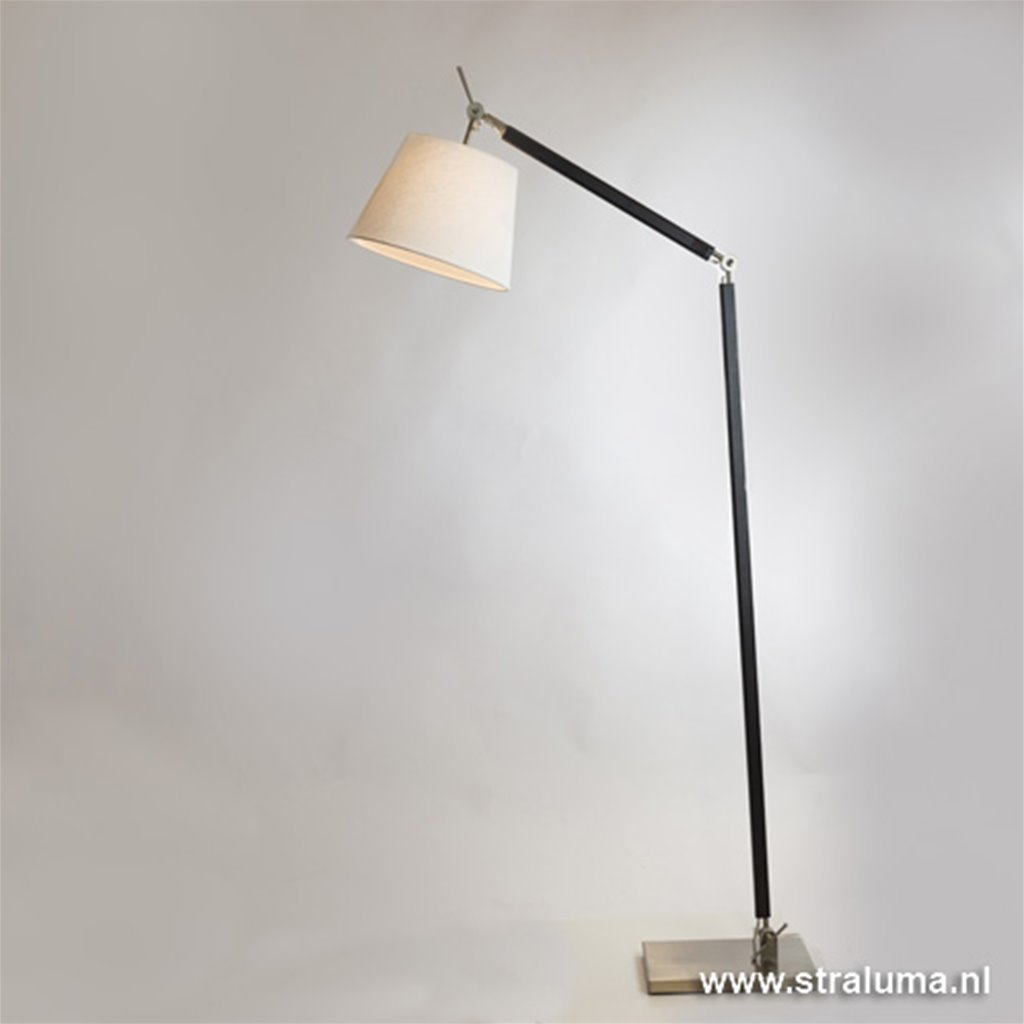 Moderne leeslamp zwart-staal met kap