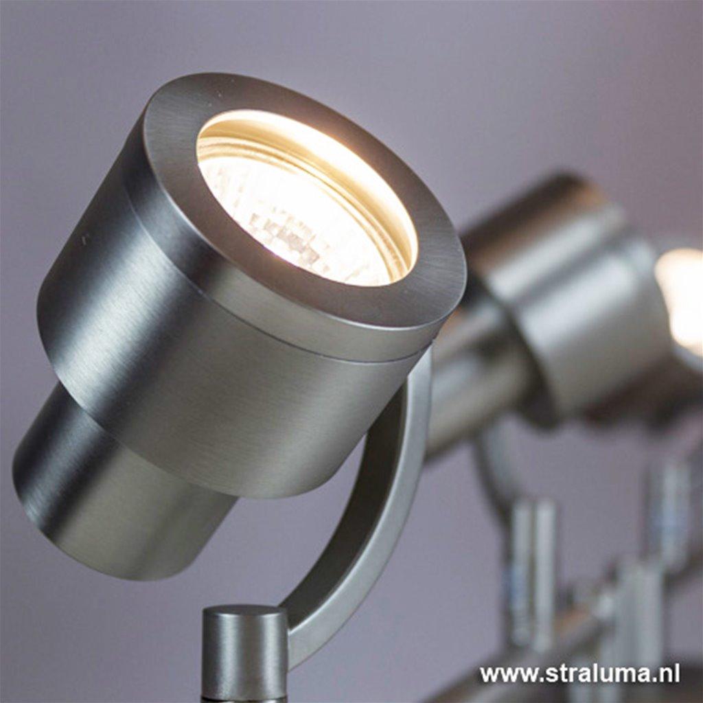 Plafondspot balk 4-lichts nikkel verstel