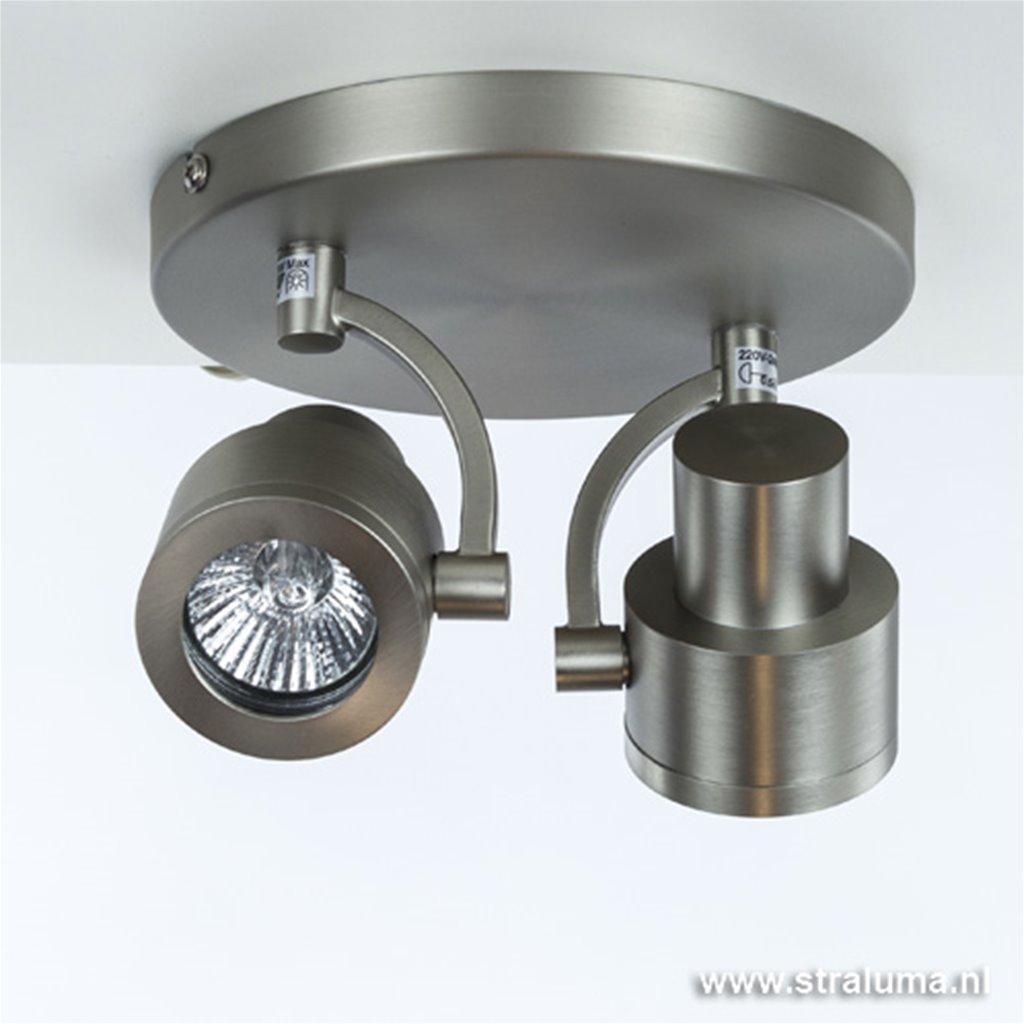 Moderne plafondspot 2-lichts gang wc