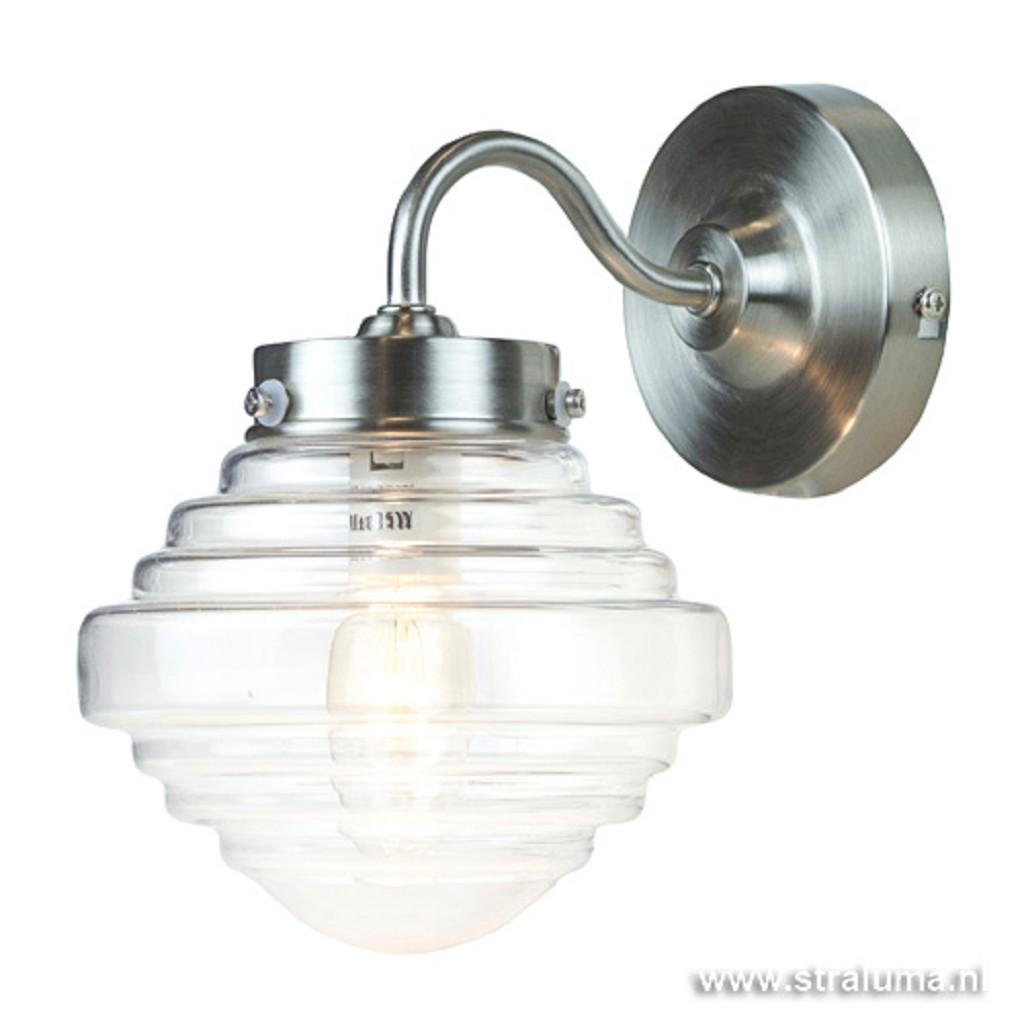 Glazen wandlamp met staal Deco