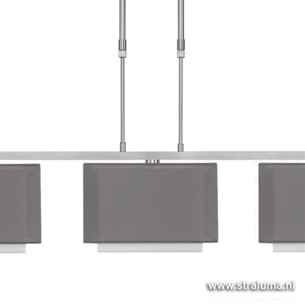 Hanglamp donker grijze kappen eettafel
