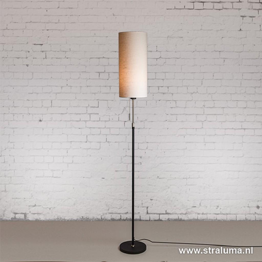 Smalle vloerlamp zwart-staal linnen kap