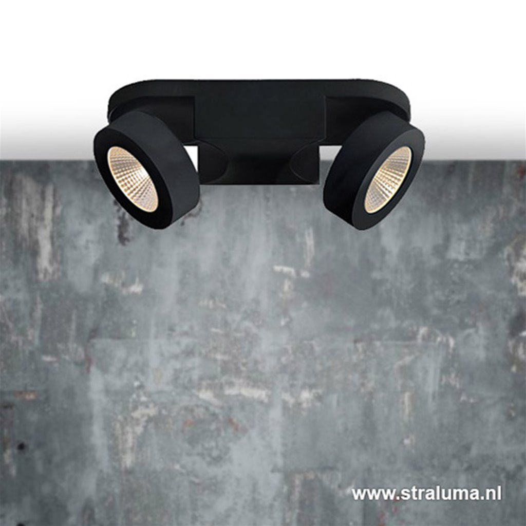 Zwarte LED plafondspot 2-lichts