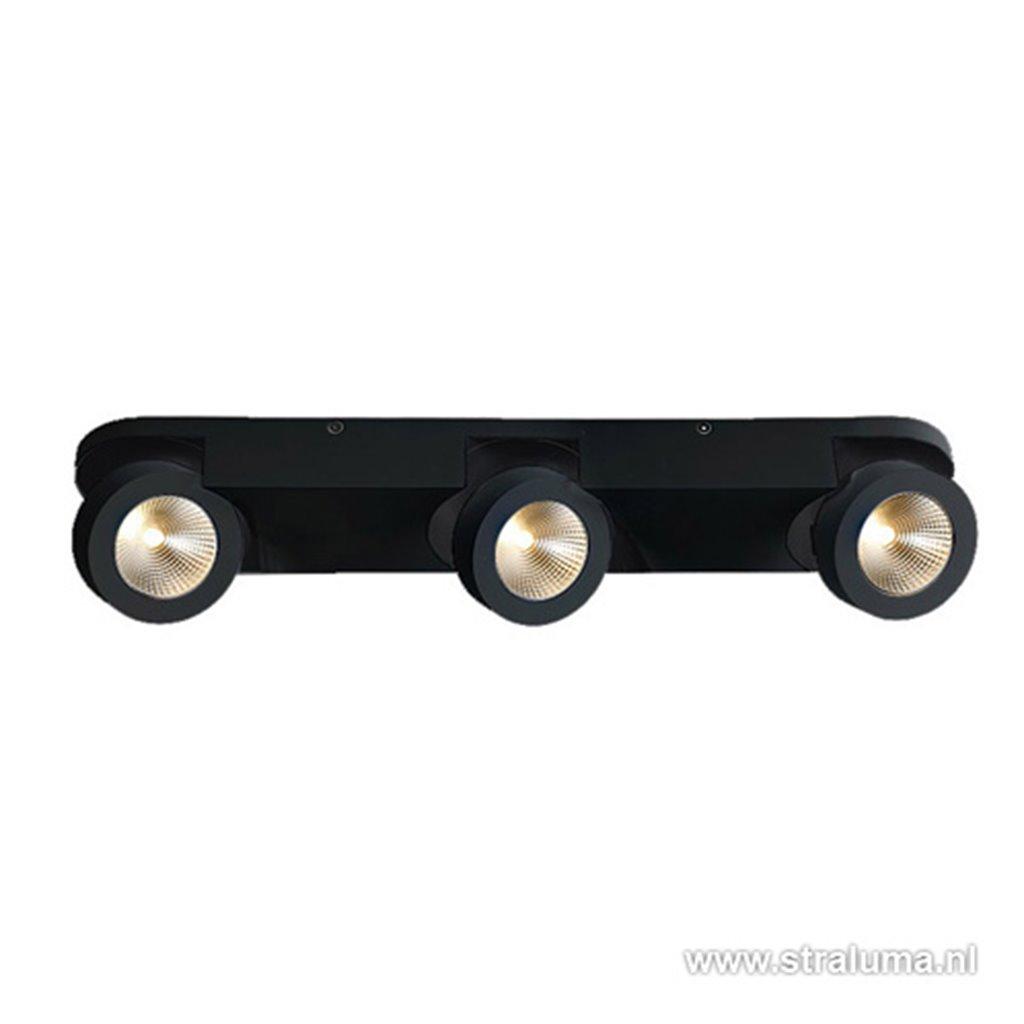 Opbouwspot balk 3-lichts zwart led