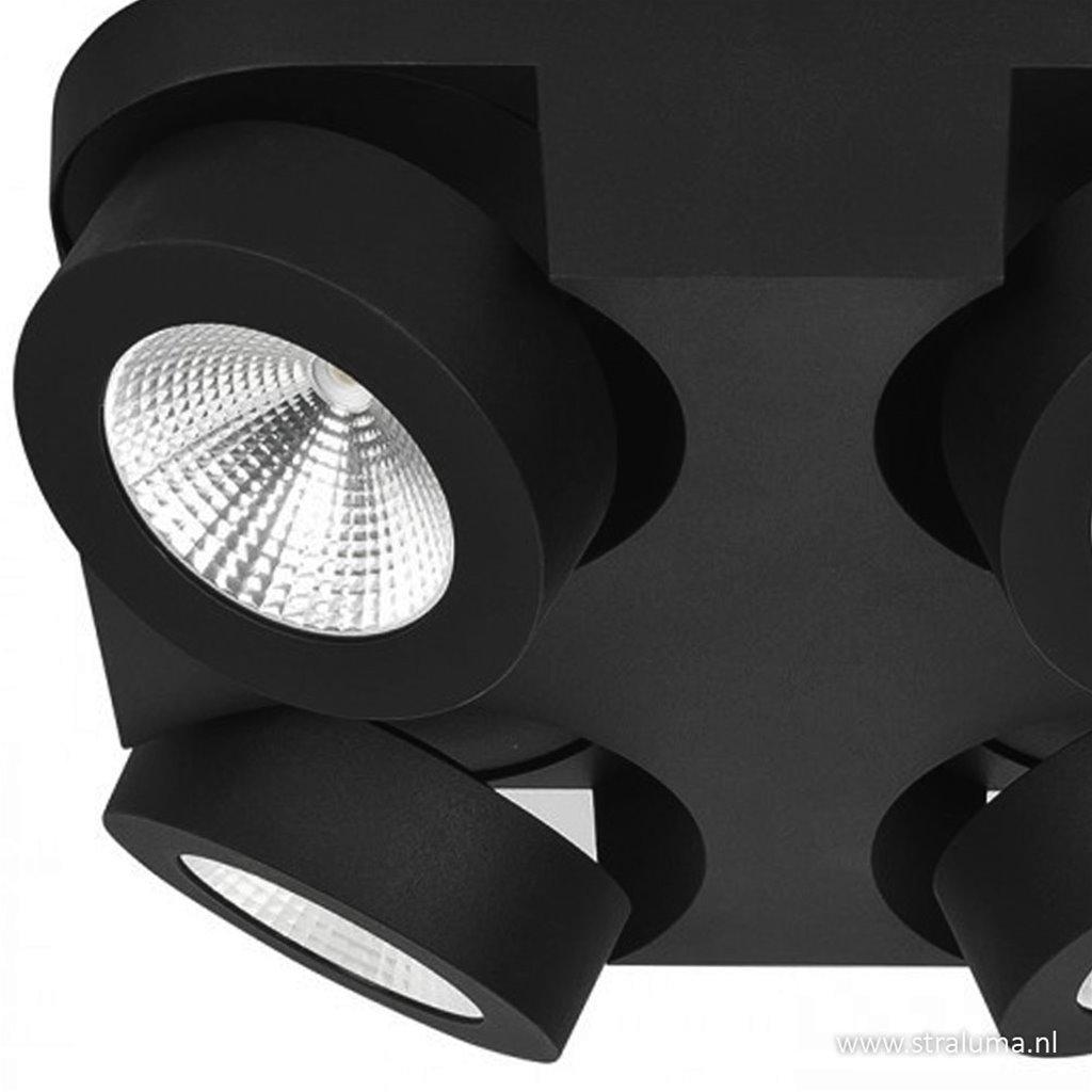 Opbouwspot 4-lichts zwart led verst.