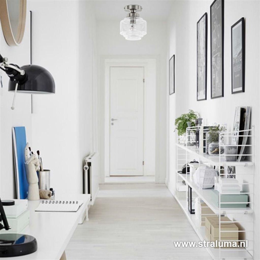 Plafondlamp klein helder glas/staal