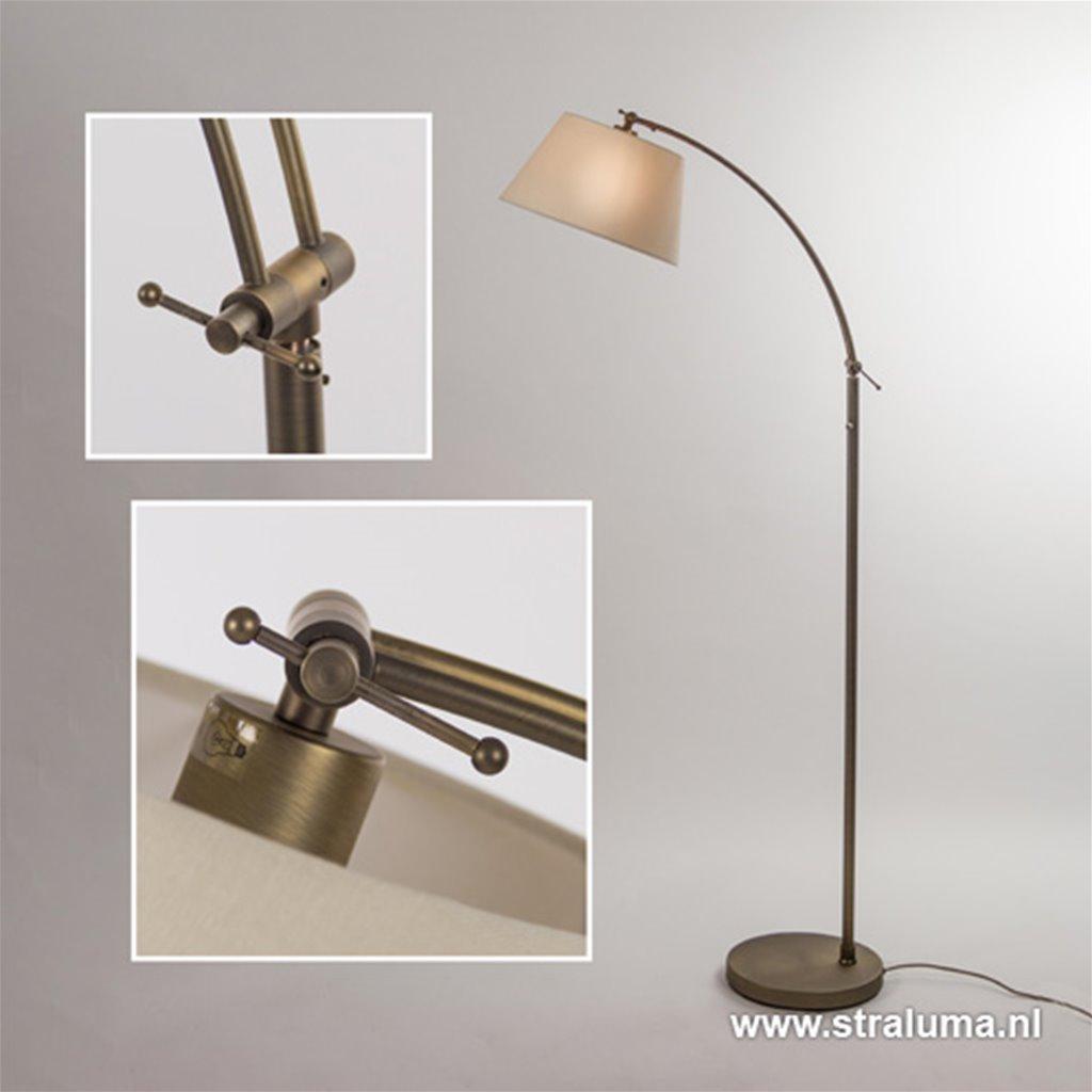 Klassieke vloerlamp brons met creme kap