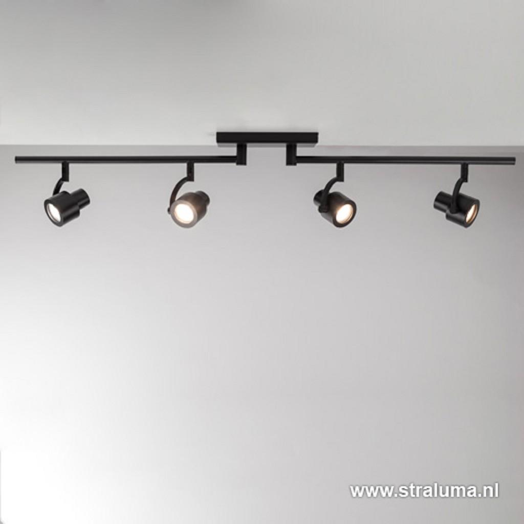 Moderne opbouwspot mat zwart 4-lichts