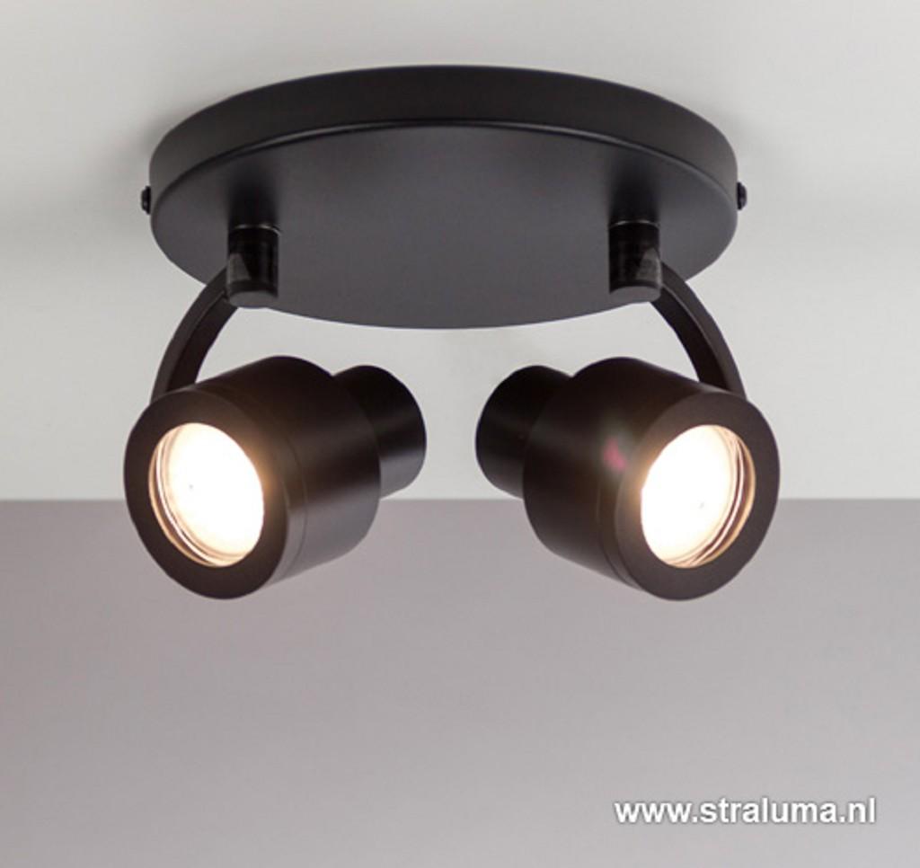 Moderne plafondspot mat zwart 2-lichts
