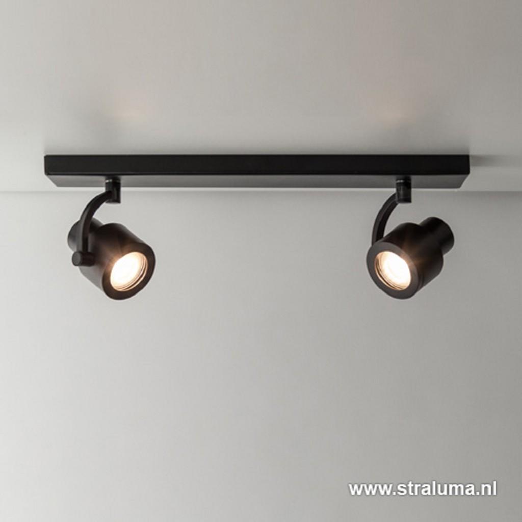 Plafondspot mat zwart balk 2-lichts gu10