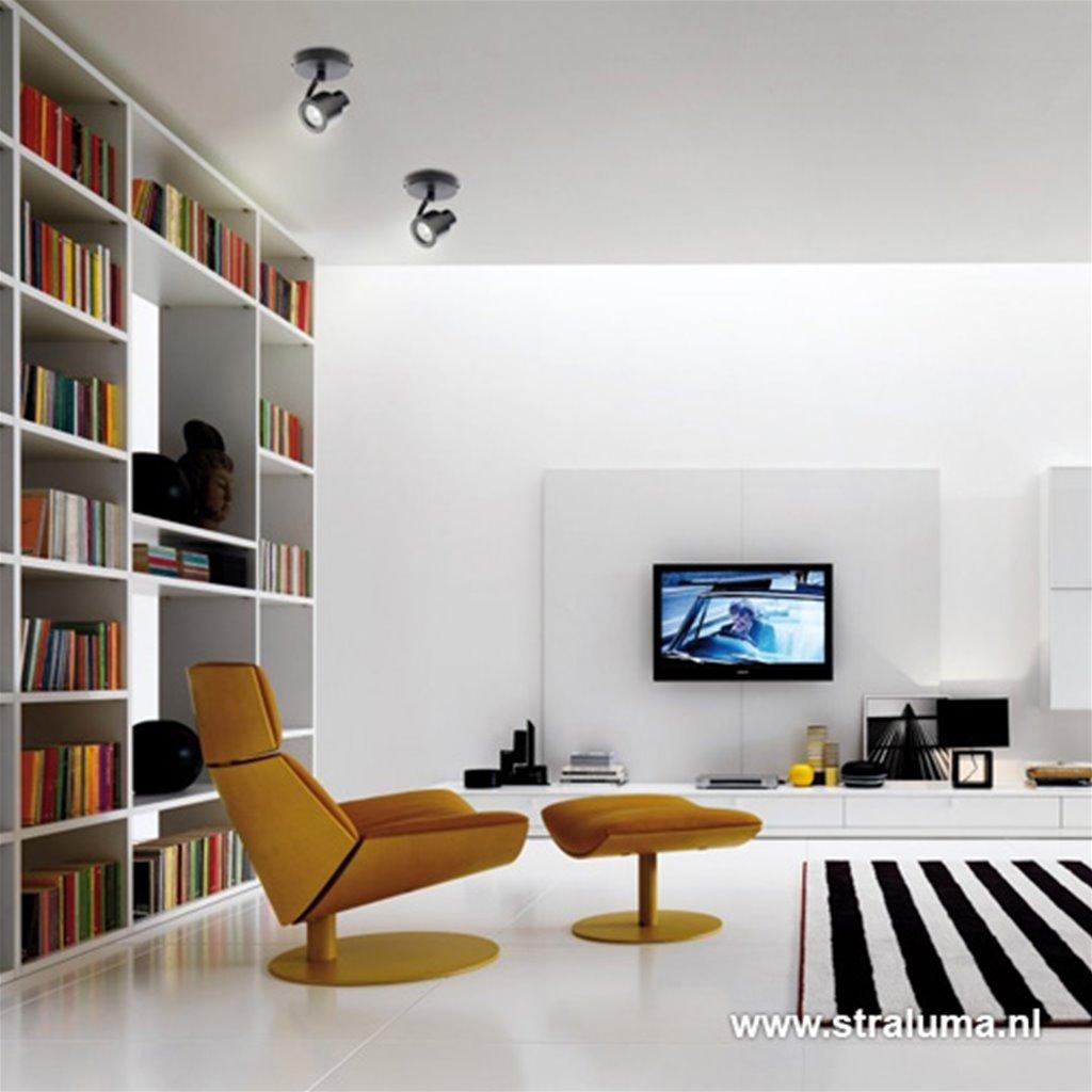 Plafondspot mat zwart 1-lichts gu10