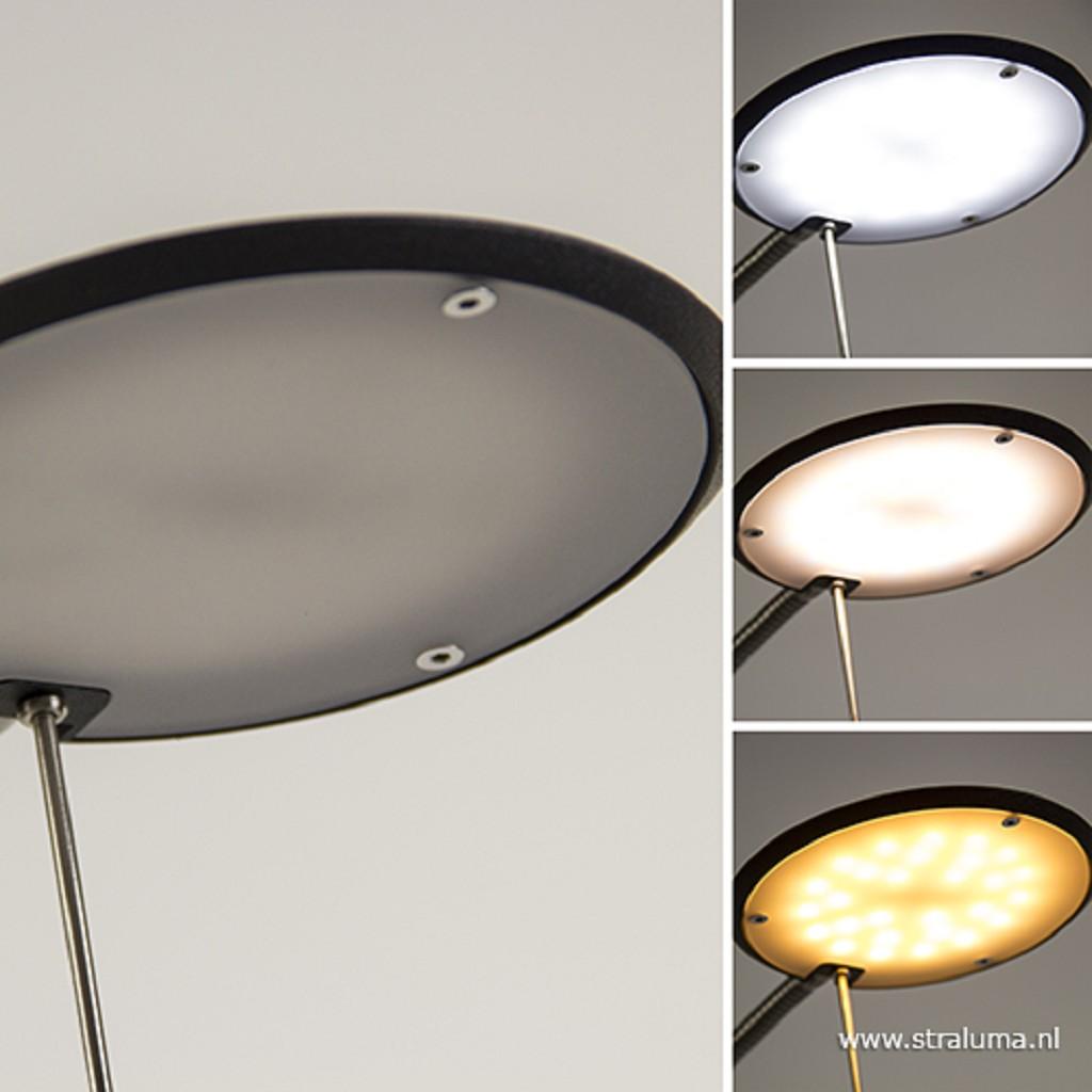 Staande leeslamp zwart/nikkel + dim.CCT