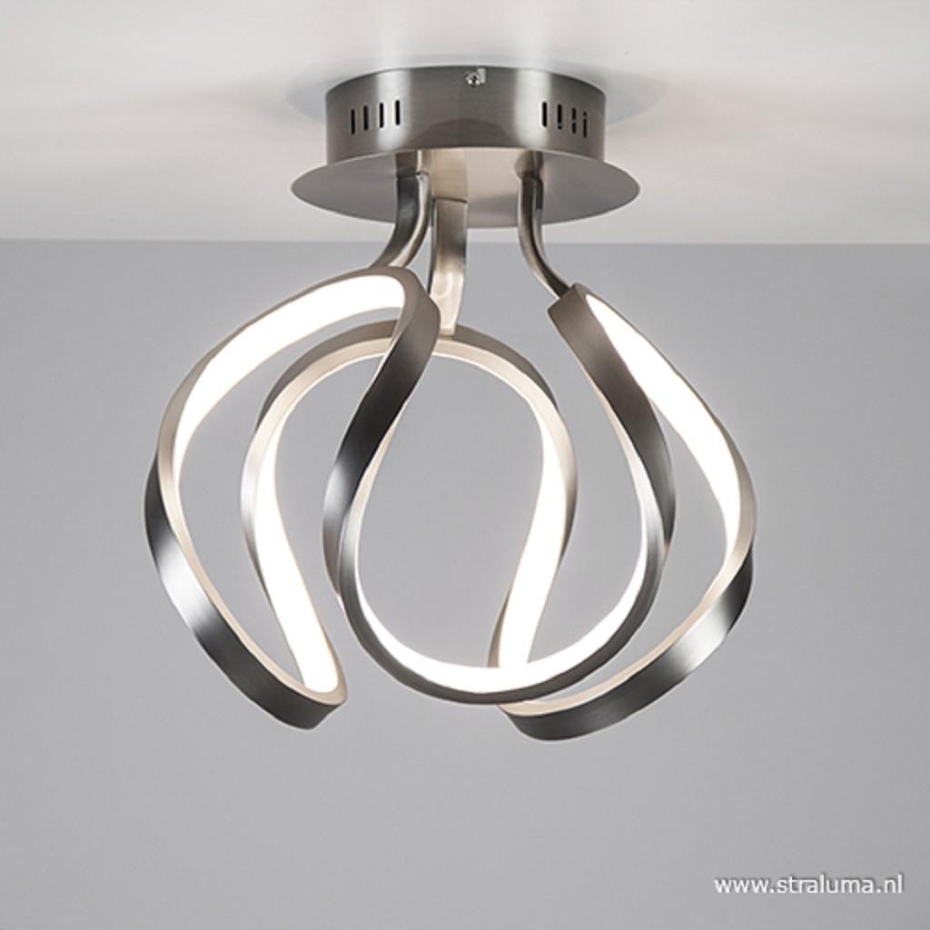 **Design plafonnière staal met LED