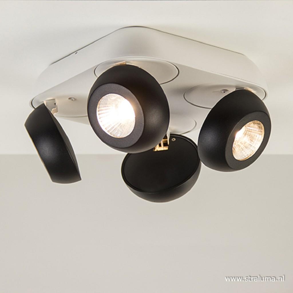 Vierkante LED plafondspot 4-lichts