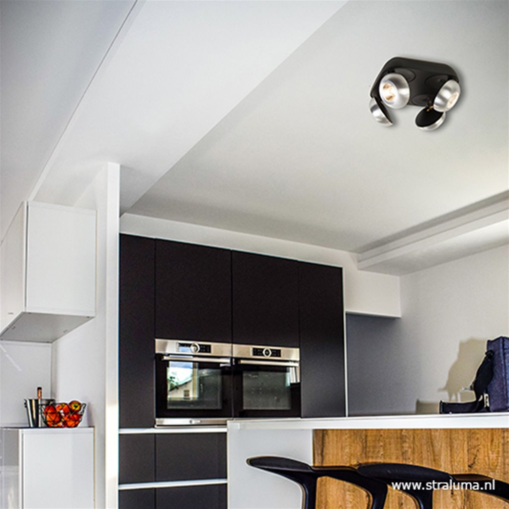 Aluminium-zwart 4-lichts LED plafondsp