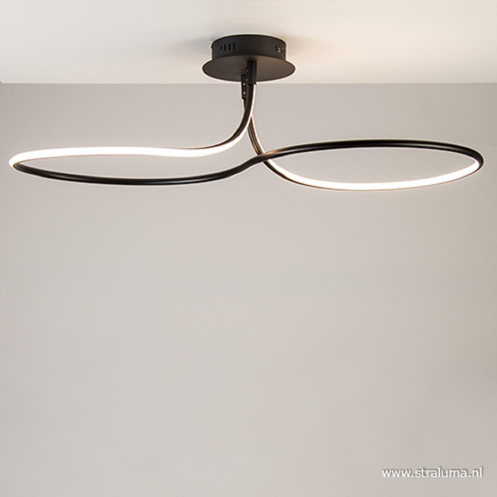 Grote zwarte LED plafondlamp krul