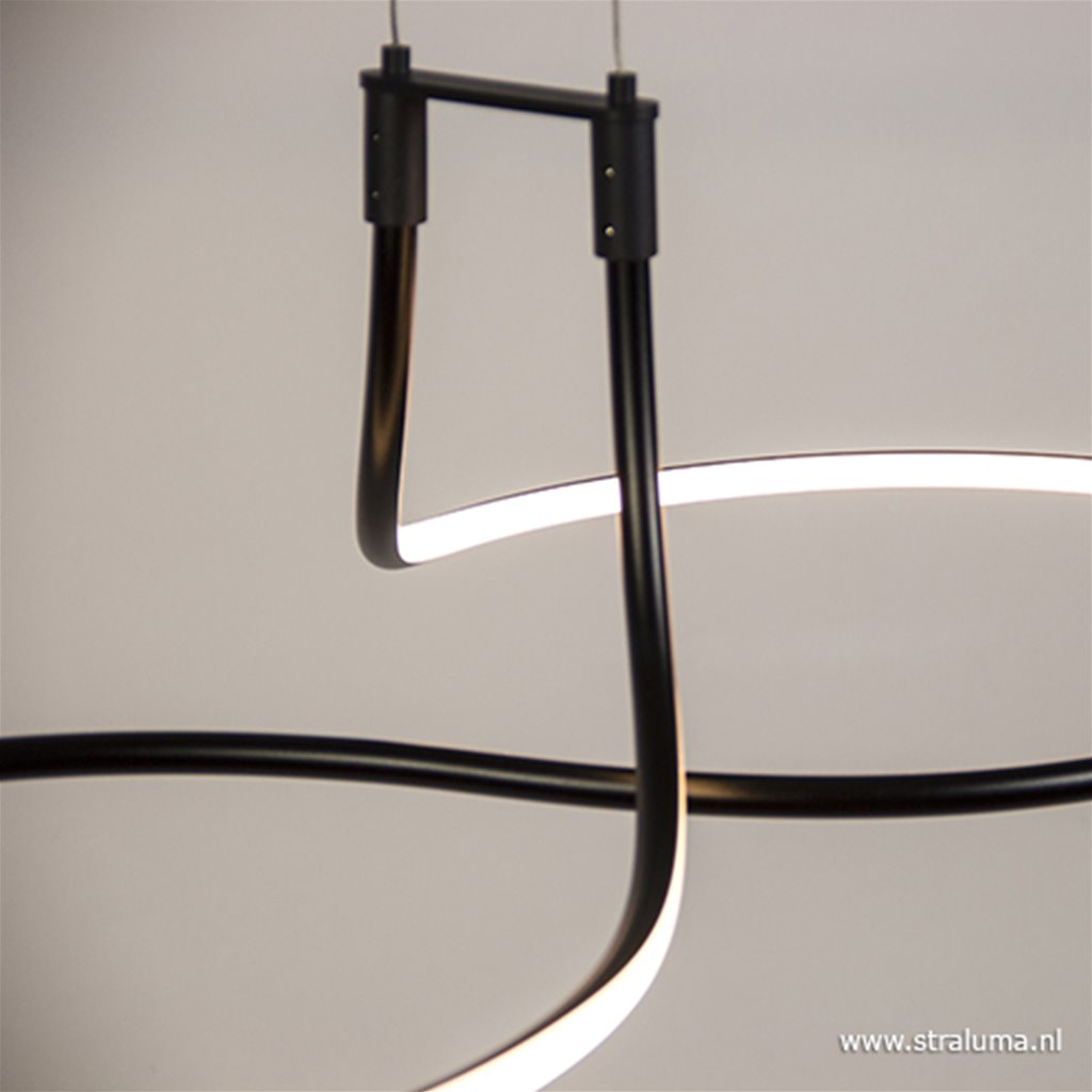**Moderne zwarte LED hanglamp krul