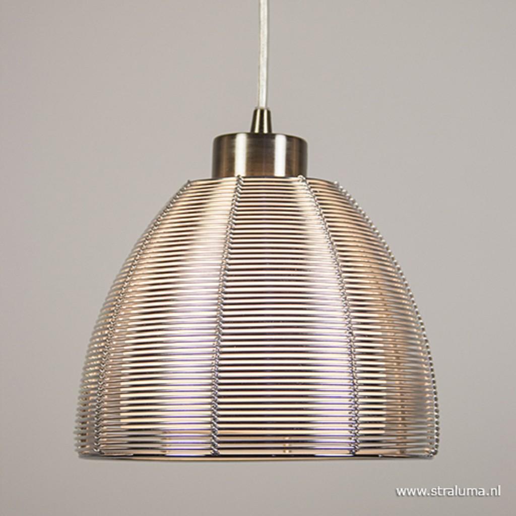 Hanglamp rond 3-lichts alu draad/glas