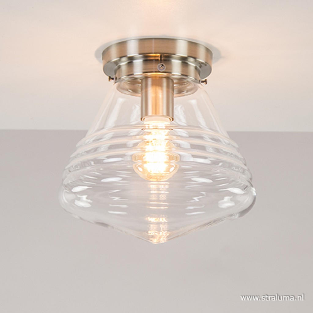 Glazen plafondlamp helder Art Deco