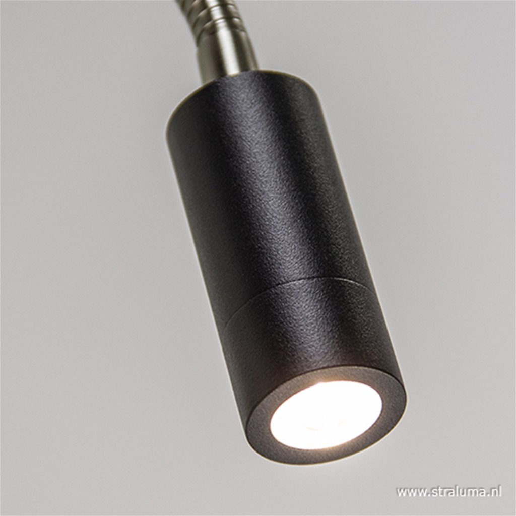 LED wandlamp/bedlamp flexibel zwart