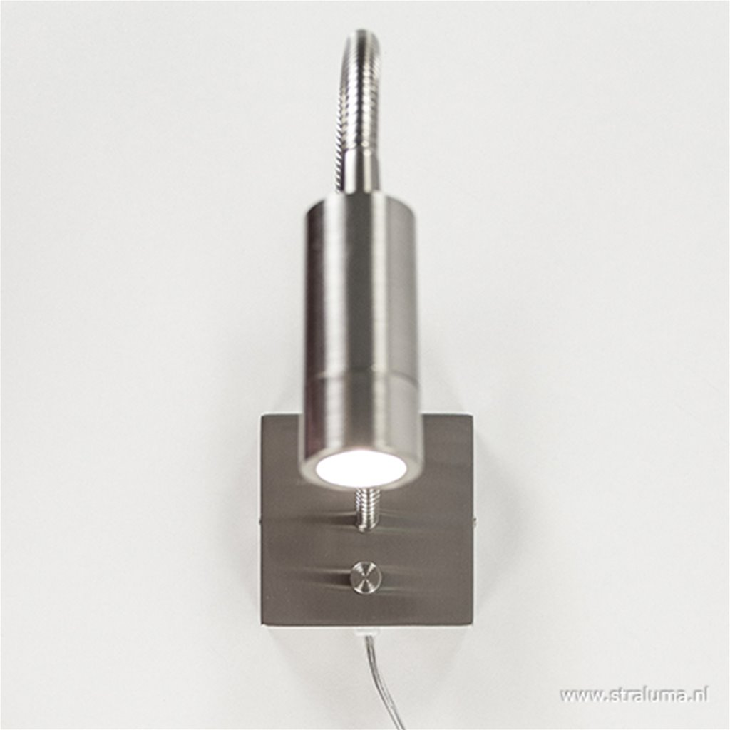 LED wandlamp/bedlamp flexibel staal
