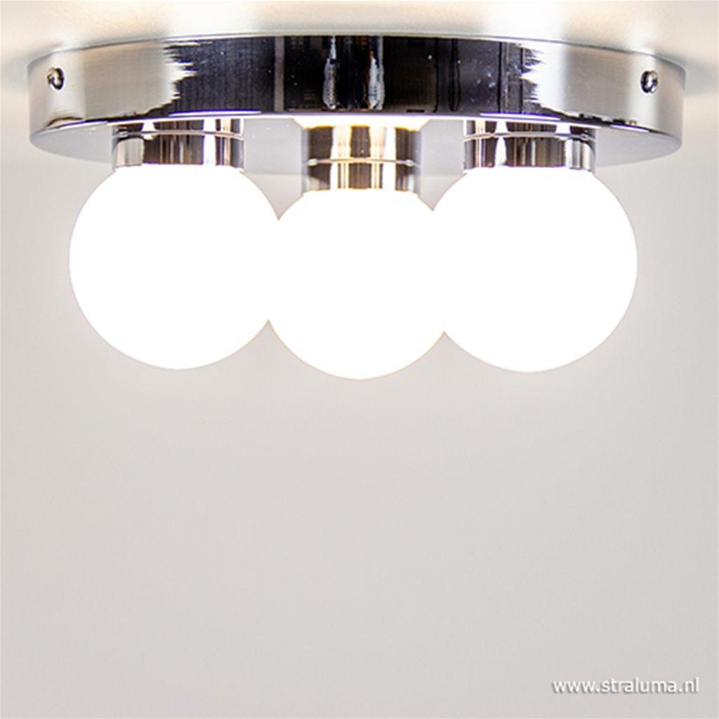 Badkamer plafondlamp chroom rond IP44