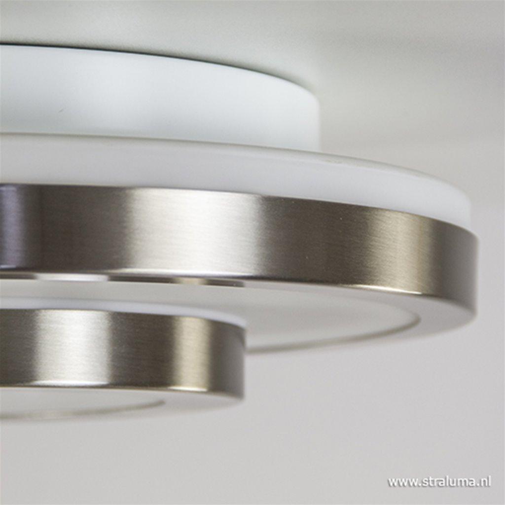 Badkamer plafonnière nikkel + glas IP44
