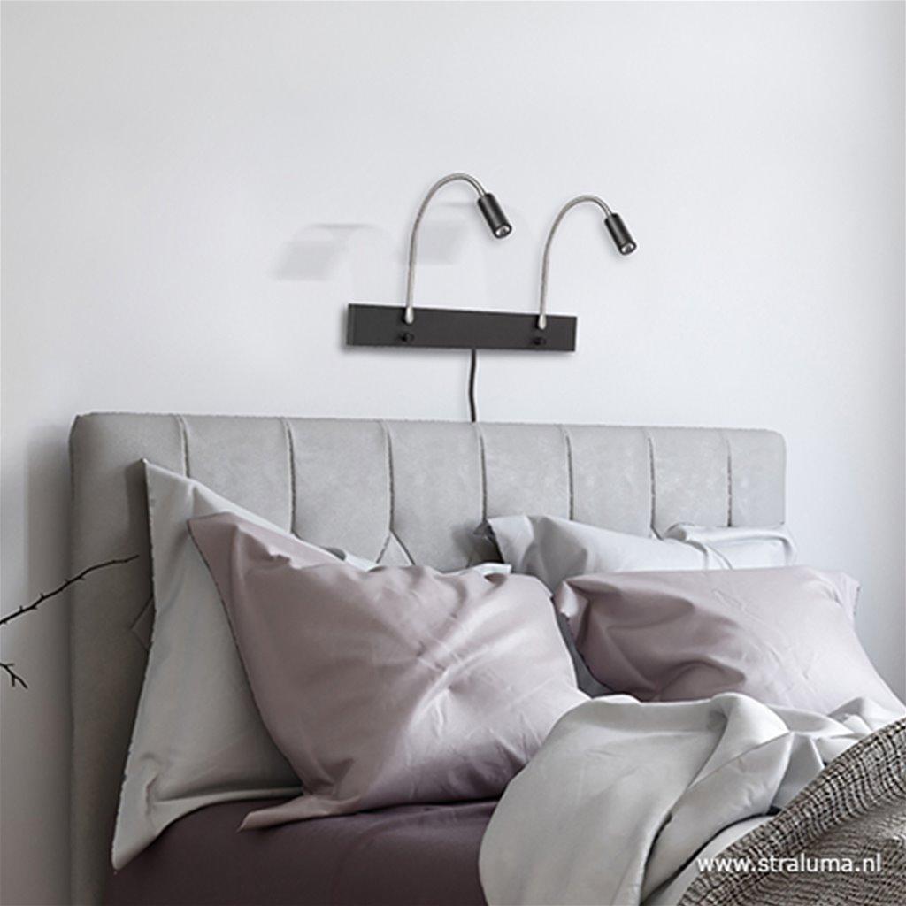Zwarte 2-lichts wandlamp LED dimbaar