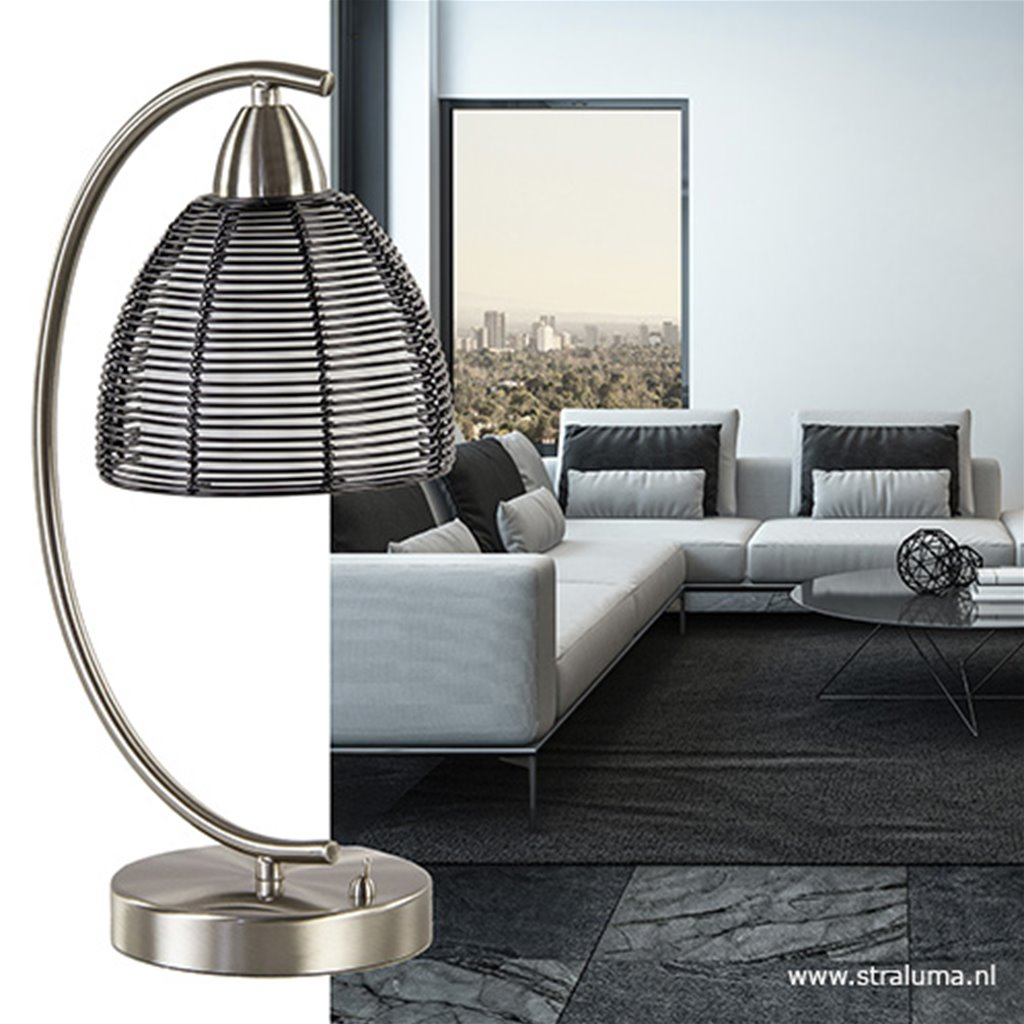Tafellamp met zwarte draad kap