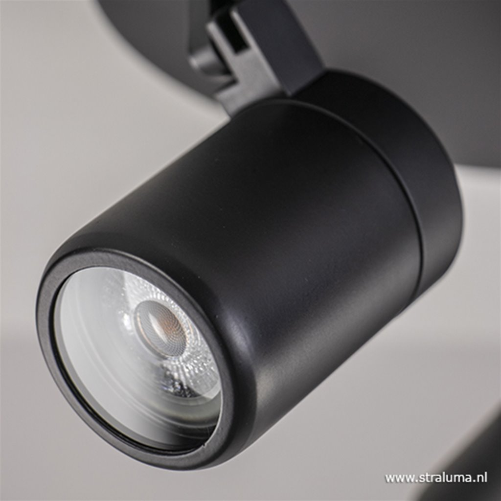 Ronde opbouwspot zwart 3-lichts GU10