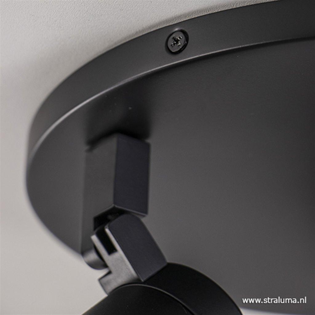 Plafondspot rond 3-lichts zwart IP44