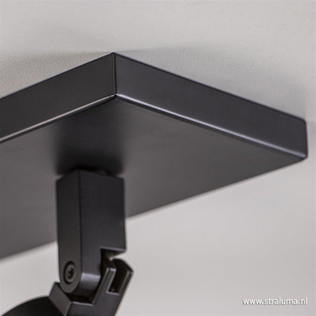 Opbouwspot 3-l op balk zwart gu10 IP44