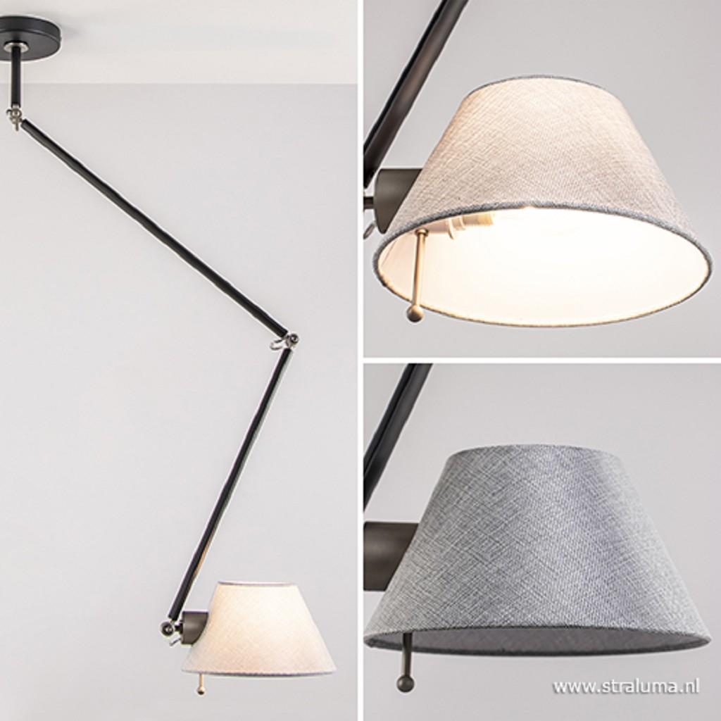 Verstelbare plafondlamp met stoffen kap