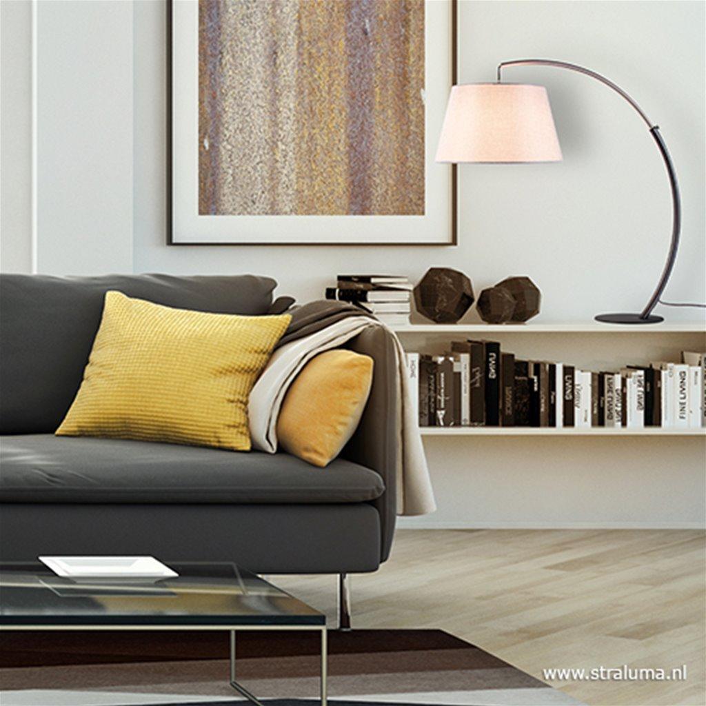 Moderne tafellamp zwart nikkel incl. kap