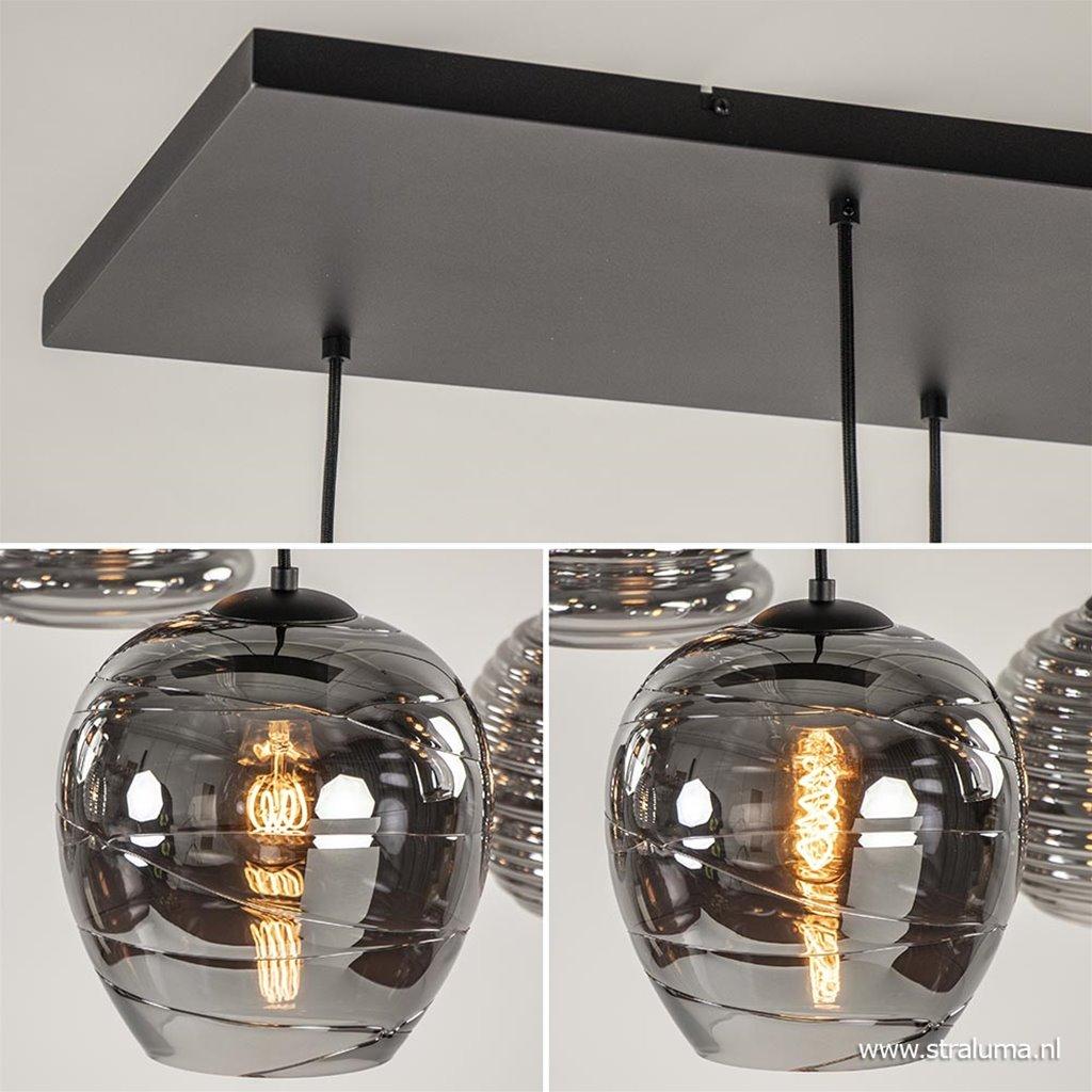 Hanglamp 8-lichts zwart/glas smoke