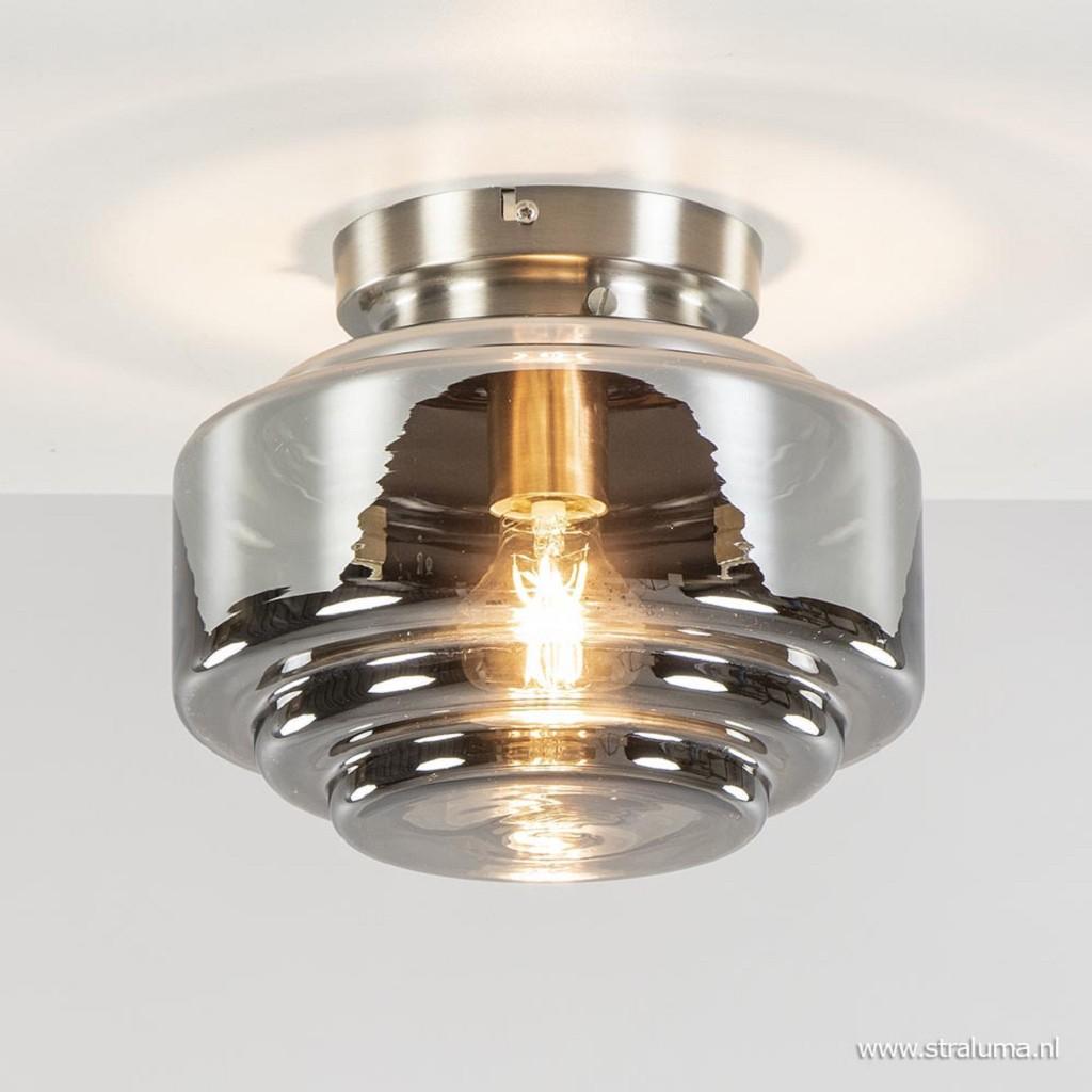 Moderne plafondlamp nikkel met smokey glas