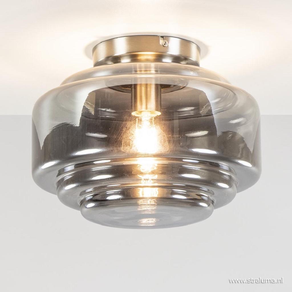 Smokey glazen plafondlamp met nikkel