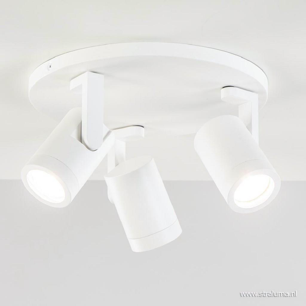 Moderne 3-lichts plafondspot wit metaal