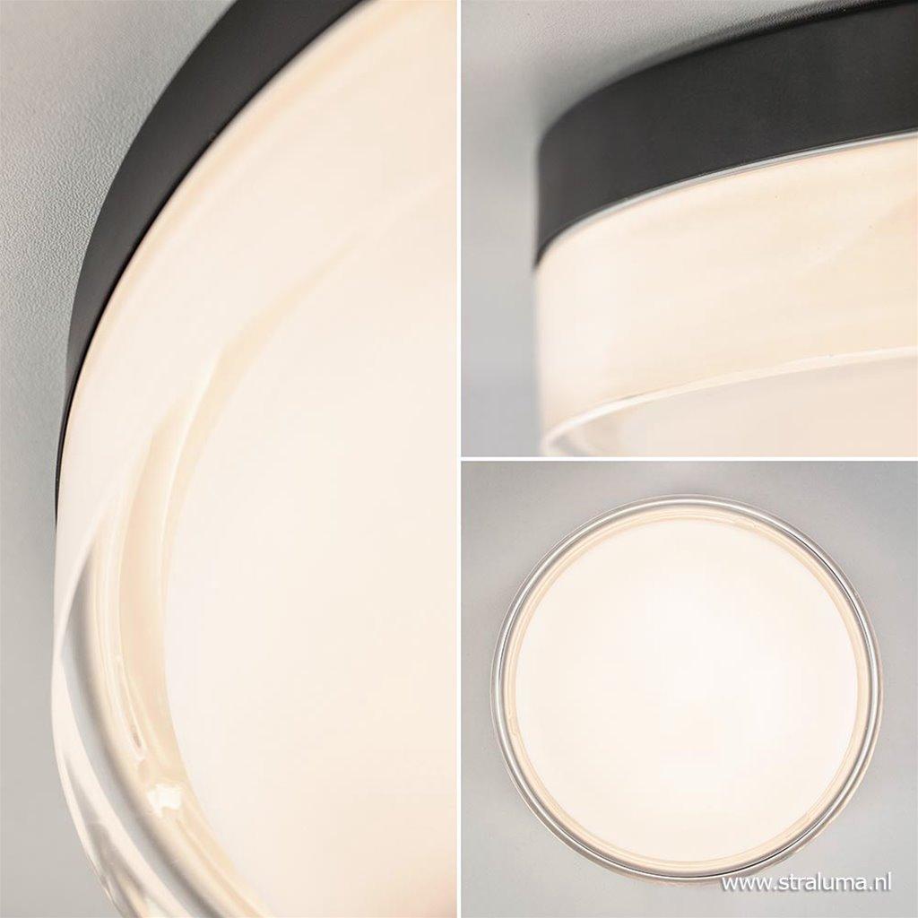 Moderne plafonnière zwart met opaal glas dimbaar