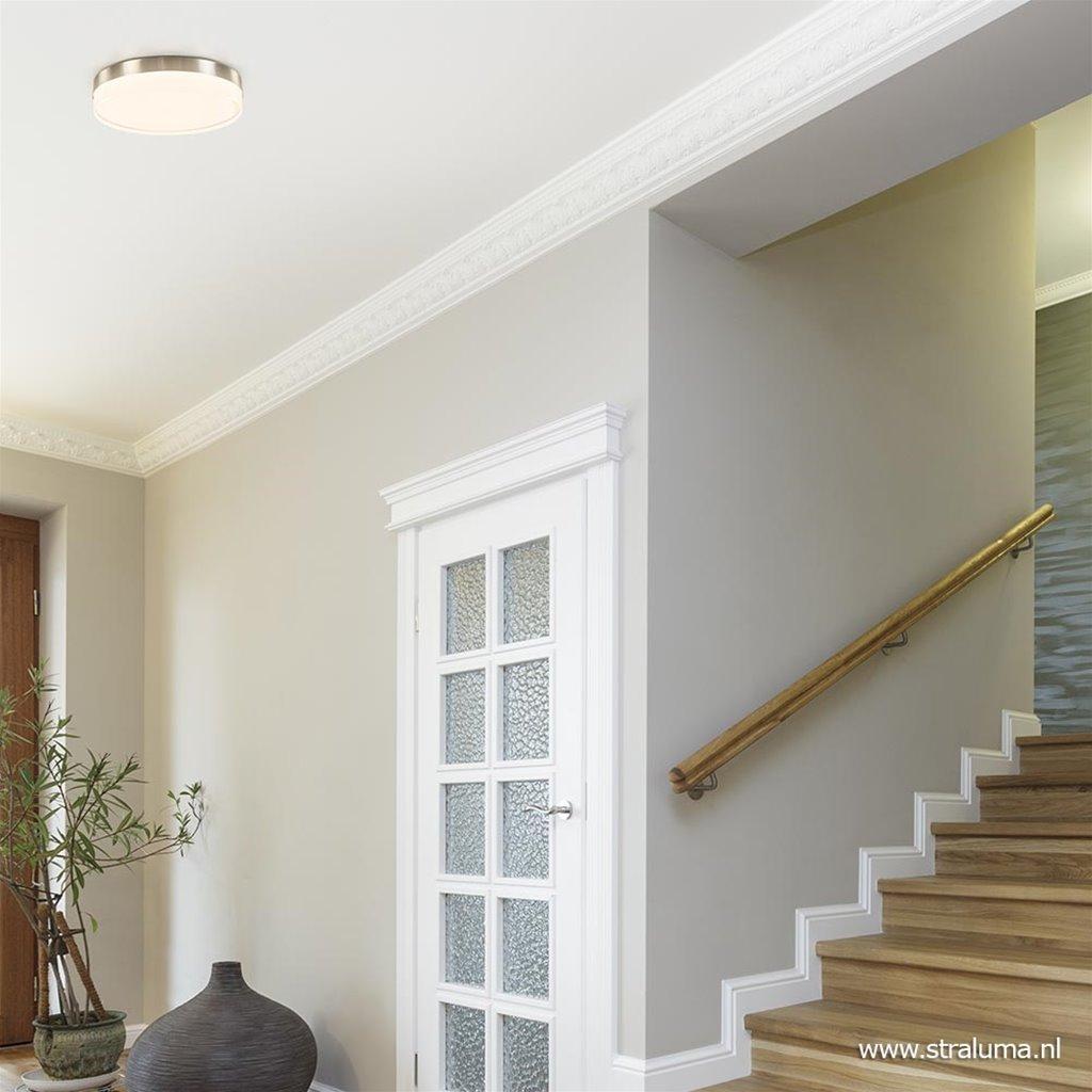 Moderne badkamer plafondlamp nikkel met opaal glas