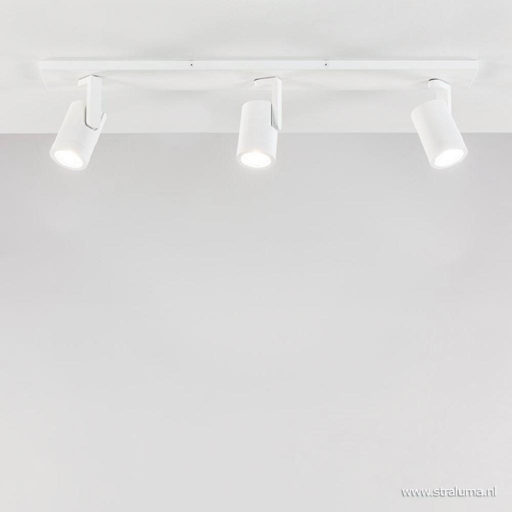 3-Lichts verstelbare opbouwspot wit metaal