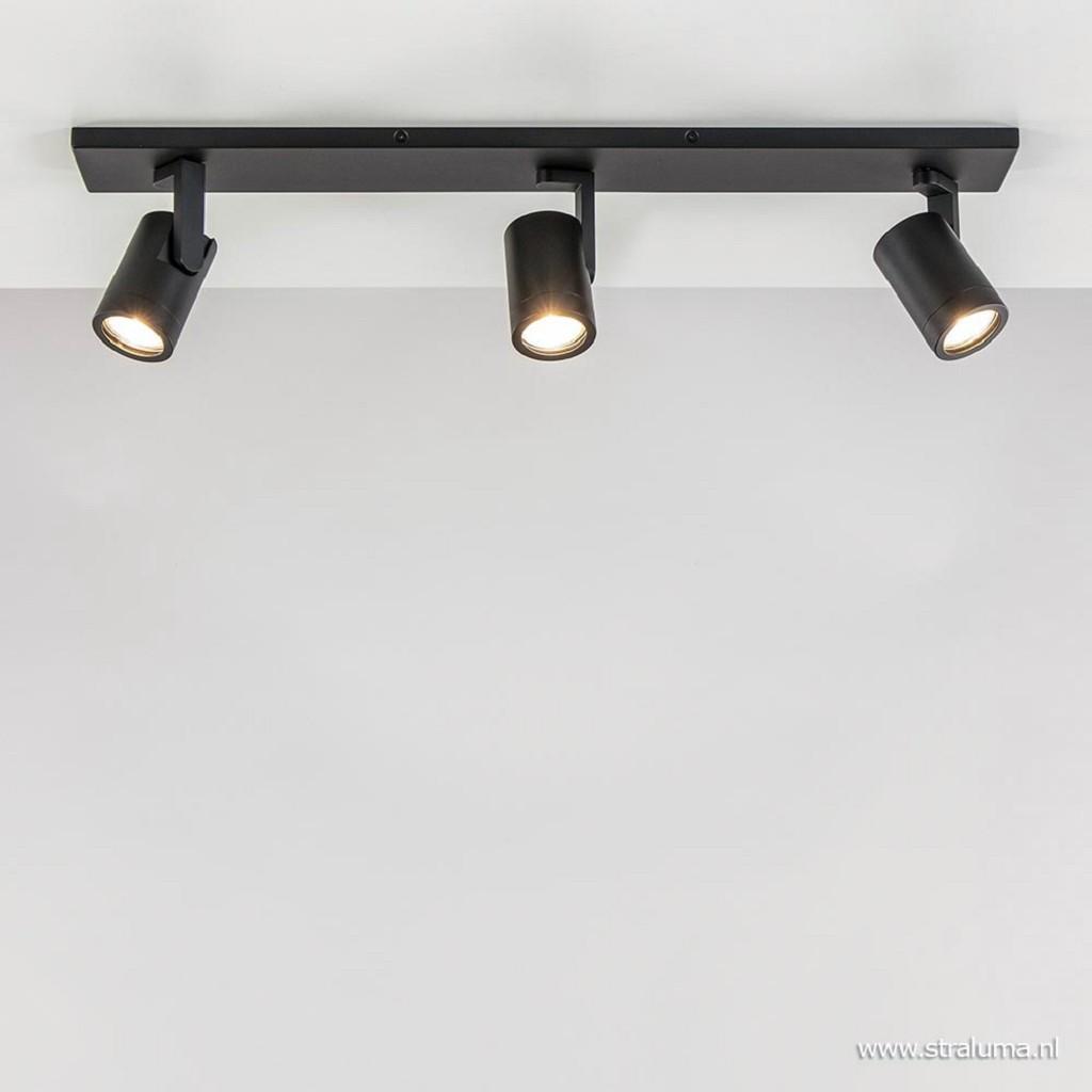 Plafondspot balk 3-lichts zwart ex.gu10