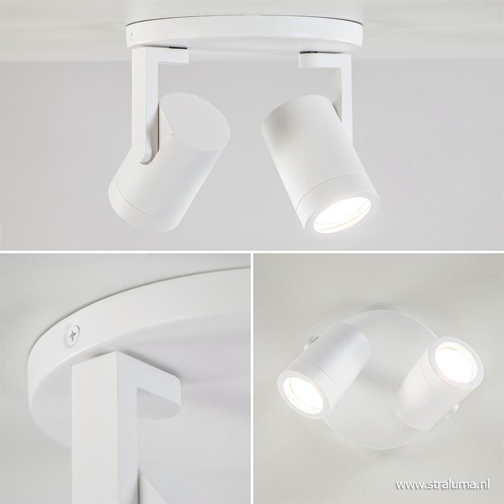 Ronde 2-lichts opbouwspot GU10 mat wit