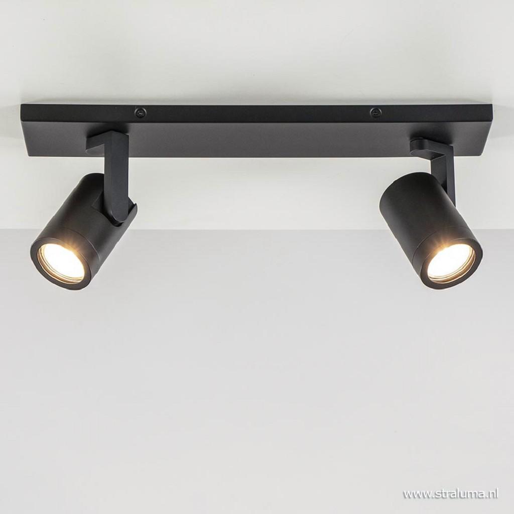 Plafondspot balk 2-lichts zwart ex.gu10