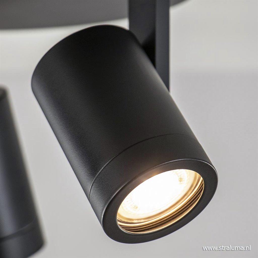3-Lichts ronde opbouwspot GU10 mat zwart