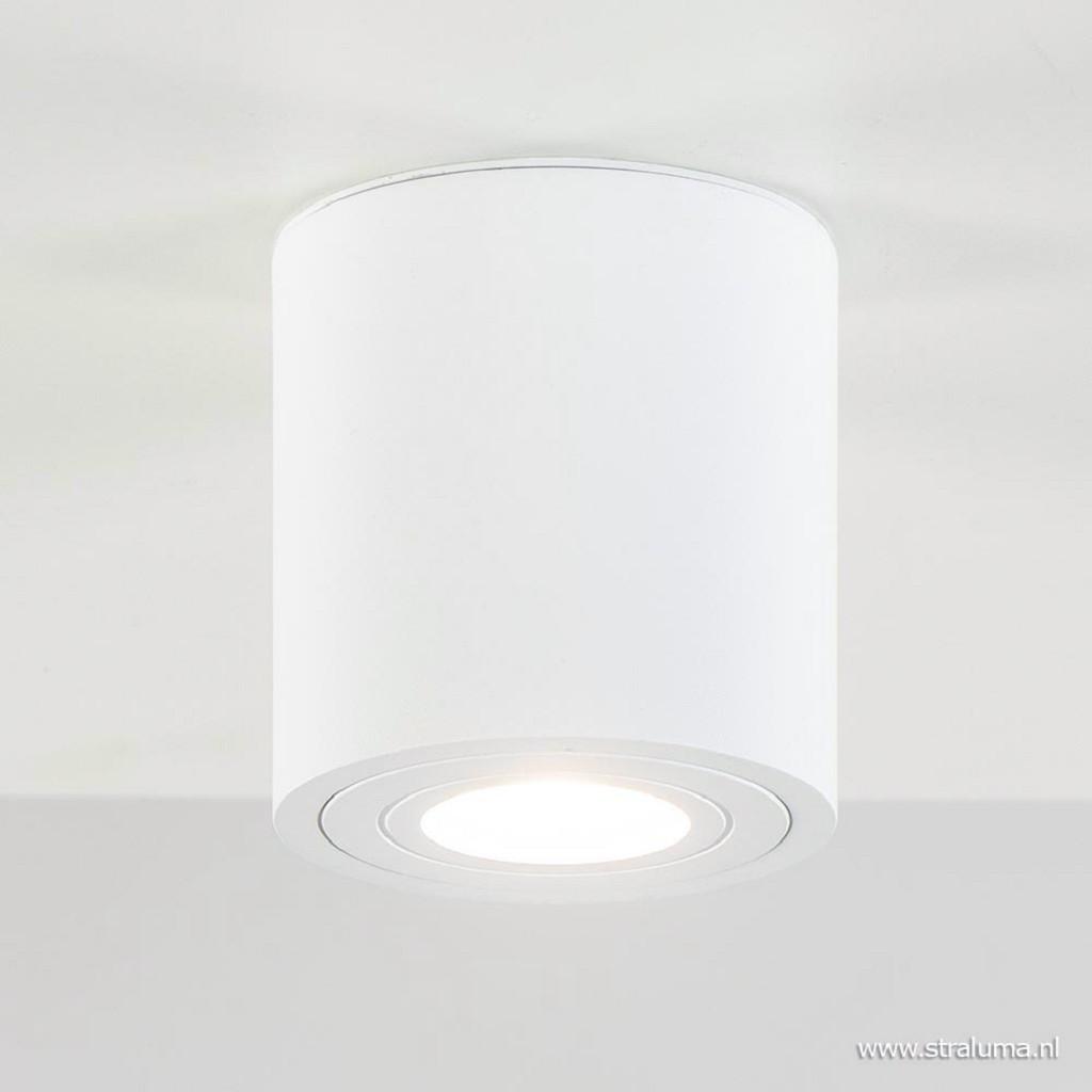 Moderne opbouwspot rond GU10 mat wit