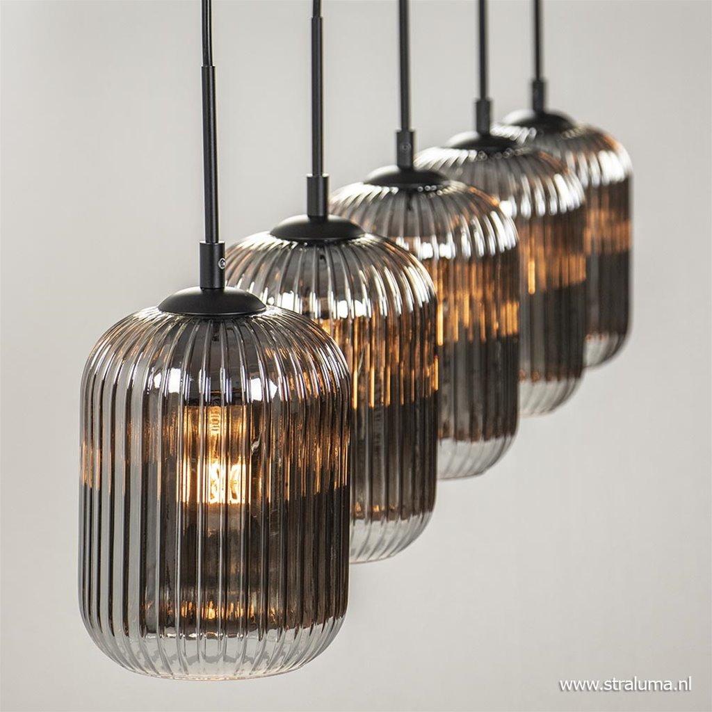 5-Lichts hanglamp zwart met smokey glazen kappen